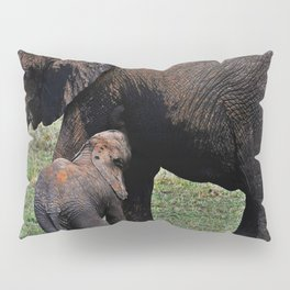 Wild African Elephants -Mother And Baby Pillow Sham