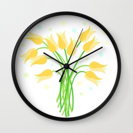 Golden Tulips Wall Clock
