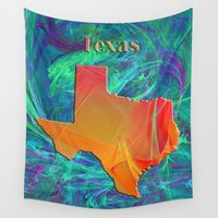 texas Wall Tapestries featuring Texas Map by Roger Wedegis