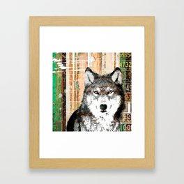Industrial Woodland Wolf Framed Art Print
