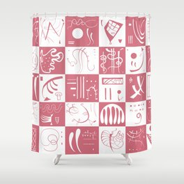 Kandinsky - White and Rose Pattern - Abstract Art Shower Curtain