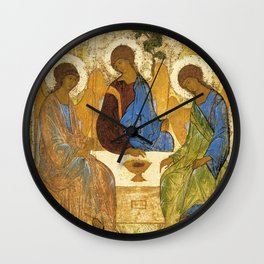 The Holy Trinity By Andrei Rublev Wall Clock