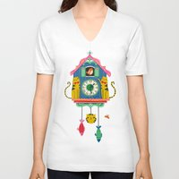 wall clock V-neck T-shirts featuring Cuckoo Clock Cats by Anne Was Here