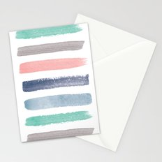 Colored Watercolor Brush Strokes Stationery Cards