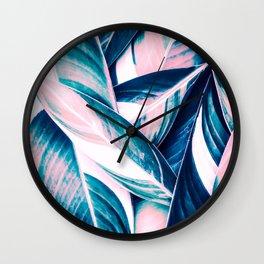 Botanical leaf pink and blue Wall Clock