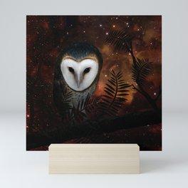 Barn owl at night Mini Art Print