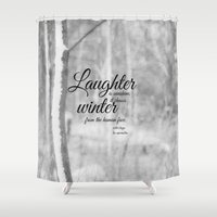 les miserables Shower Curtains featuring Les Miserables Quote Winter by KimberosePhotography