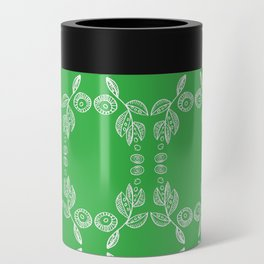 Hand drawn Seed Pods White on Spring Green Can Cooler