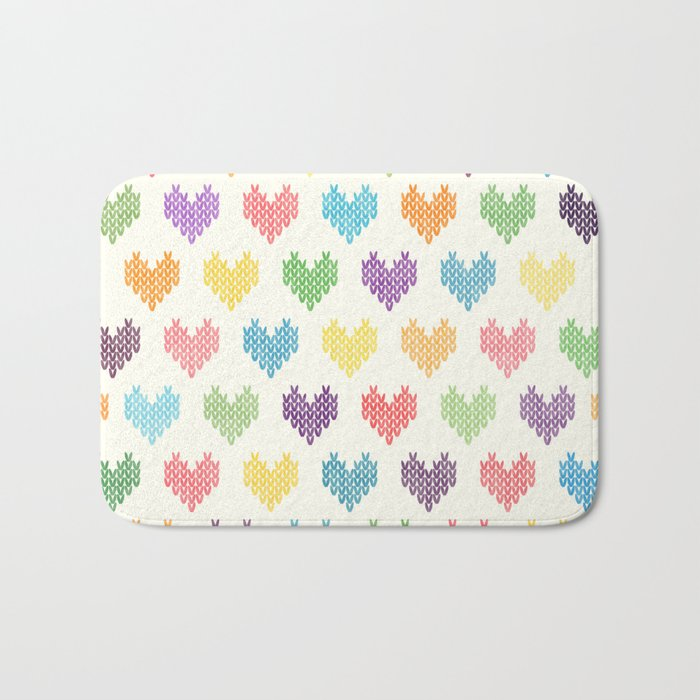 Colorful Knitted Hearts II Bath Mat