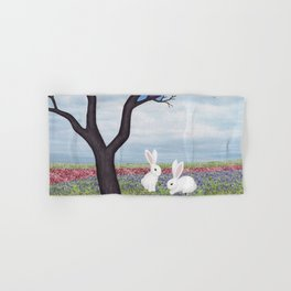 bunnies and the stained glass tree Hand & Bath Towel