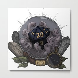 Cancer D20 - Tabletop Gaming Dice - The Astrology Collection Metal Print