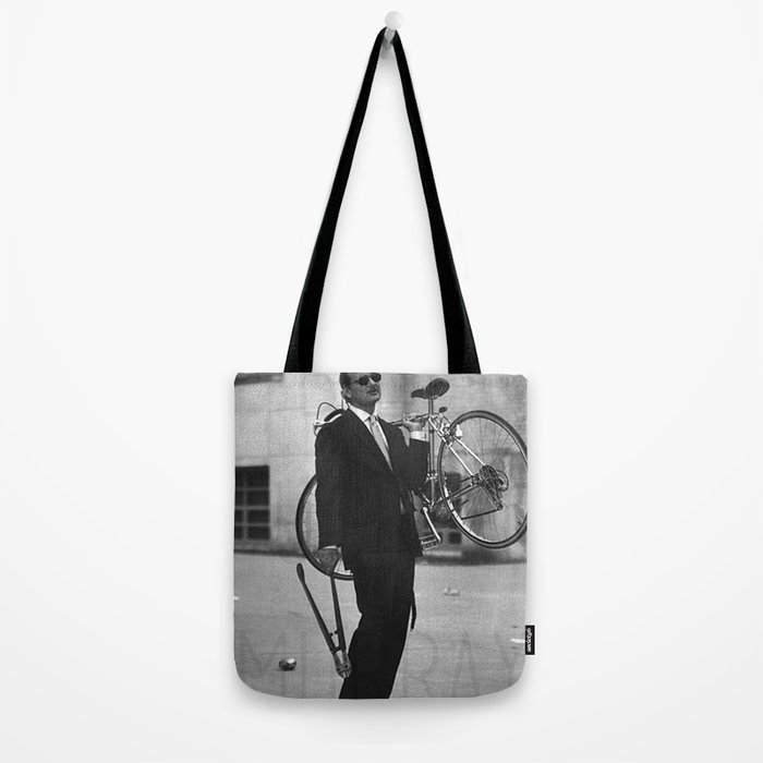 Bill F Murray stealing a bike. Rushmore production photo. Tote Bag