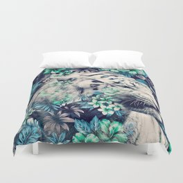 Floral Tiger Duvet Cover