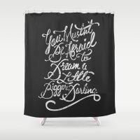 inception Shower Curtains featuring Dream a little bigger, darling... by LEGITIMVS MAXIMVS