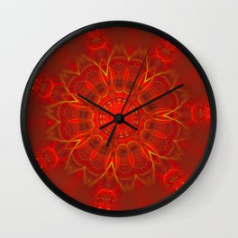 Mandala Thin Lines Warm Colors Red Background Wall Clock