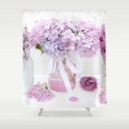 Lavender Purple Hydrangeas Floral  Shower Curtain