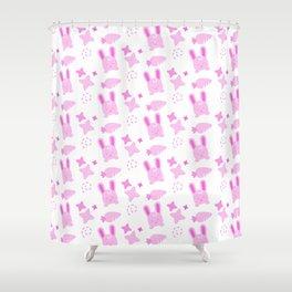 Gangster Bunny, Playful Pattern Shower Curtain