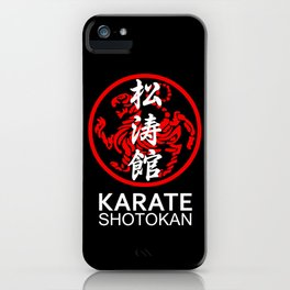 Shotokan Karate Symbol and Kanji white text iPhone Case