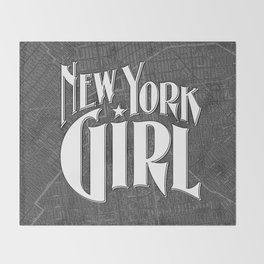 New York Girl B&W / Vintage typography redrawn and repurposed Throw Blanket
