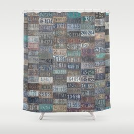 Vintage USA License Plates Shower Curtain