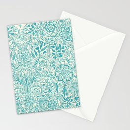 Detailed Floral Pattern in Teal and Cream Stationery Cards