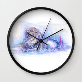 Painted Lion Wall Clock