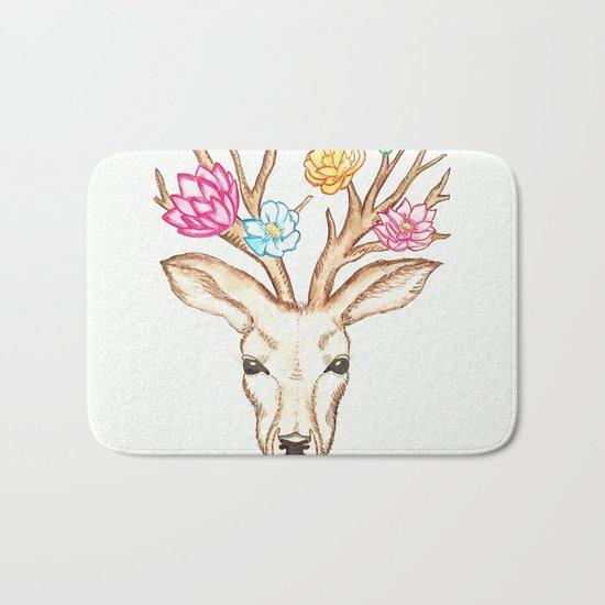 Deer with flowers Bath Mat