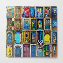 Behind Every Door (Is A Home), Collage Painting of Colorful World Doors by Jeanpaul Ferro Metal Print