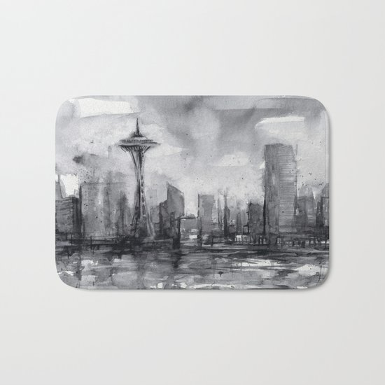 Seattle Skyline Painting Watercolor Black and White Space Needle Bath Mat