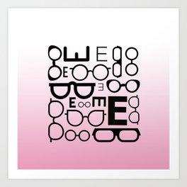 Eye Chart Eyeglasses Pink and Black Art Print