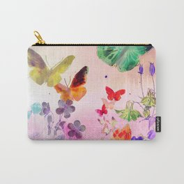 Blush Butterflies & Flowers Carry-All Pouch