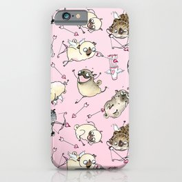 Love is in the Air - Cute Pug Cupids iPhone Case