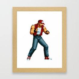 Terry Bogard pixel art Retrogaming Mine Craft Style Framed Art Print