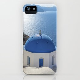 Santorini Island with churches and sea view in Greece iPhone Case
