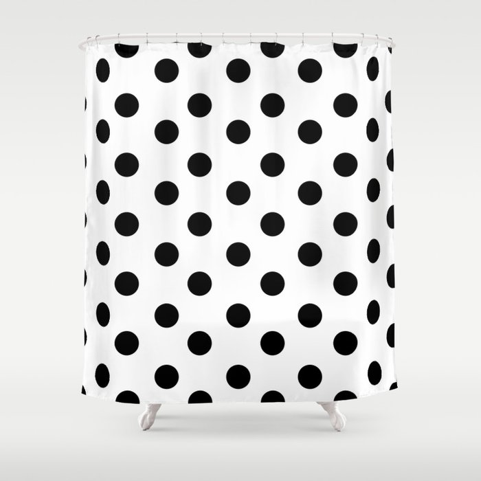 White Black Polka Dots Shower Curtain By Saymmmkay