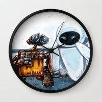 wall e Wall Clocks featuring Wall-E by Agui-chan