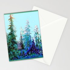 Grey  Blue Mountain Nature Landscape Blue-Greens Stationery Cards