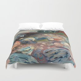 Shore with Red House by Edvard Munch Duvet Cover