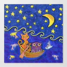 Owl and Pussycat rowed at night Canvas Print