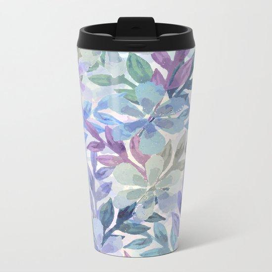 watercolor Botanical garden Metal Travel Mug