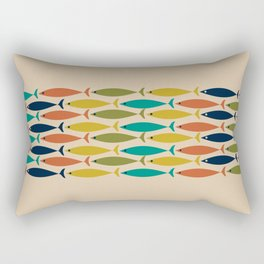 Midcentury Modern Multicolor Fish Stripe Pattern in Olive, Mustard, Orange, Teal, Beige Rectangular Pillow