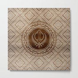 Khanda symbol on wooden texture Metal Print