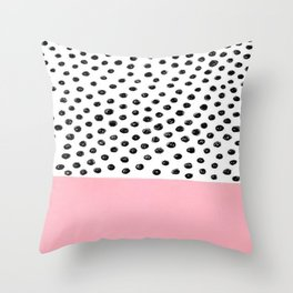 Pink Black Dalmation Polka Dots Throw Pillow