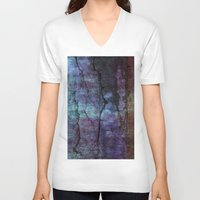 cracked V-neck T-shirts featuring cracked Earth by helsch photography