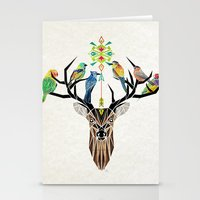 yetiland Stationery Cards featuring deer birds by Manoou