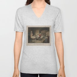 President Lincoln, writing the Proclamation of Freedom (January 1st, 1863) Unisex V-Neck