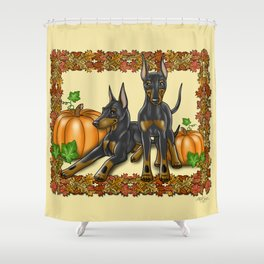 Manchester Terrier Autumn and Pumpkins Shower Curtain
