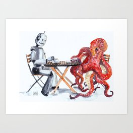 Robot Octopus Coffee Date Art Print
