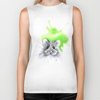 hamster Biker Tanks featuring green hamster by Konstantina Louka
