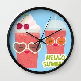 Hello Summer Kawaii cherry smoothie Wall Clock